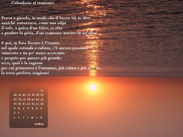 Calendario al tramonto